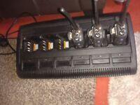 3 motorola handsets and 6 birth charger