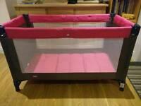 Zippy Baby Pink Grey Travel Cot