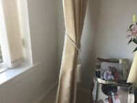 Stone and cream handmade curtains and pelmet in excellent condition.