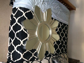 Large Wooden frame Silver star shaped mirror