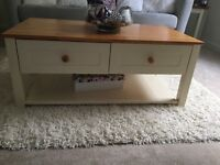 Cream and pine coffee table