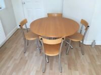 John Lewis Inox Design Solid Beech Wood Round Table + 4 chairs. £59