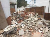 Brick and concrete rubble
