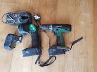 HITACHI CORDLESS DRILL 18V TORCH CHARGER 3 BATTERIES