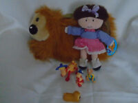 MAGIC ROUNDABOUT FLORENCE SOFT TOY DOLL DOUGAL BNWT SHOULDER BAG UNUSED 4 PLASTIC FIGURES