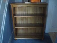 PINE BOOKCASE - Good quality solid pine bookcase, 0.9m wide, 1.0m high, 3 shelves, excellent cond.