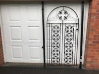 Wrought iron garden gate with posts with fixings, never used ,