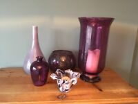 Large purple glass hurricane candle lamp,selection of vases and a murano glass candle holder.