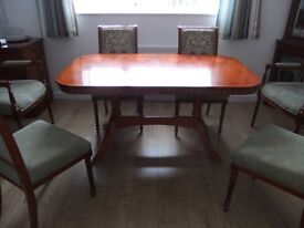 Dinning Room Suite of Table, 4 Chairs, 2 Carvers