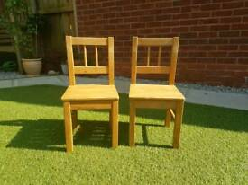 2x Childrens Little Wooden Chairs