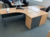 Two curved office desks, good condition
