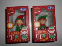 ***NEW IN BOX*** 2 X A SITTING ELF FOR YOUR SHELF DECORATIONS
