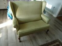 Upholstery project : Two seater armchair / sofa with side headrests - Saltdean