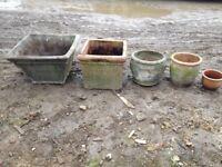 5 x Rustic Stone Planters