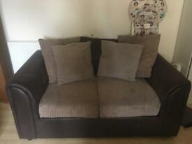 2 Seater Brown Sofa, Cushions Included.