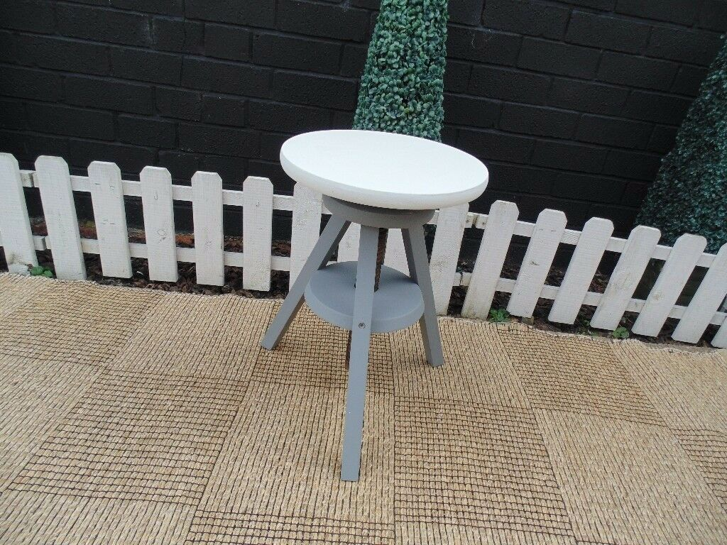 SOLID PINE STOOL PAINTED WITH LAURA ASHLEY PARIS GREY AND PALE DOVE ALL SOLID PINE
