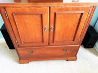TV CABINET UNIT STAND, YOUNGER JAMESTOWN, CHERRY WOOD, DRAWER SPACE FOR DVD, SKY BOX ETC £65 ONO