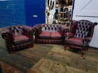 Oxblood Chesterfield 3 Piece Suite