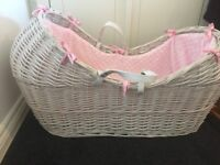White and pink noah pod with pink bow lining