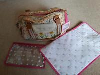Blooming gorgeous pink lining changing bag with mat etc
