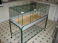 Large Cage suitable for Guinea Pigs and Rabbits, Plastic Base on Stand with Shelf, smaller cage inc.