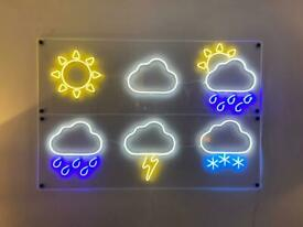 Neon signs, weather symbols