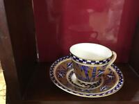 X Coalport Y62 Cobolt Bluebird Bamboo Gold Gilt Vintage Cup and Saucer Excellent used condition