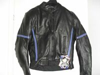 UNISEX BLACK LEATHER BIKER JACKET - NEW TAGS STILL ATTACHED SIZE S - FULL PROTECTION