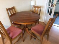 Round wooden dining table+4 padded chairs