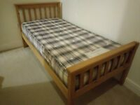 Wooden Single Bed Frame & Quality Mattress Excellent Condition - Bedford (local delivery available)