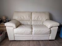 Leather 2 Seater Sofa, Cream/Neutral, Very Good Condition, Smoke/Pet Free Home