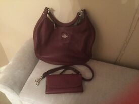 Burgundy coach handbag and wallet