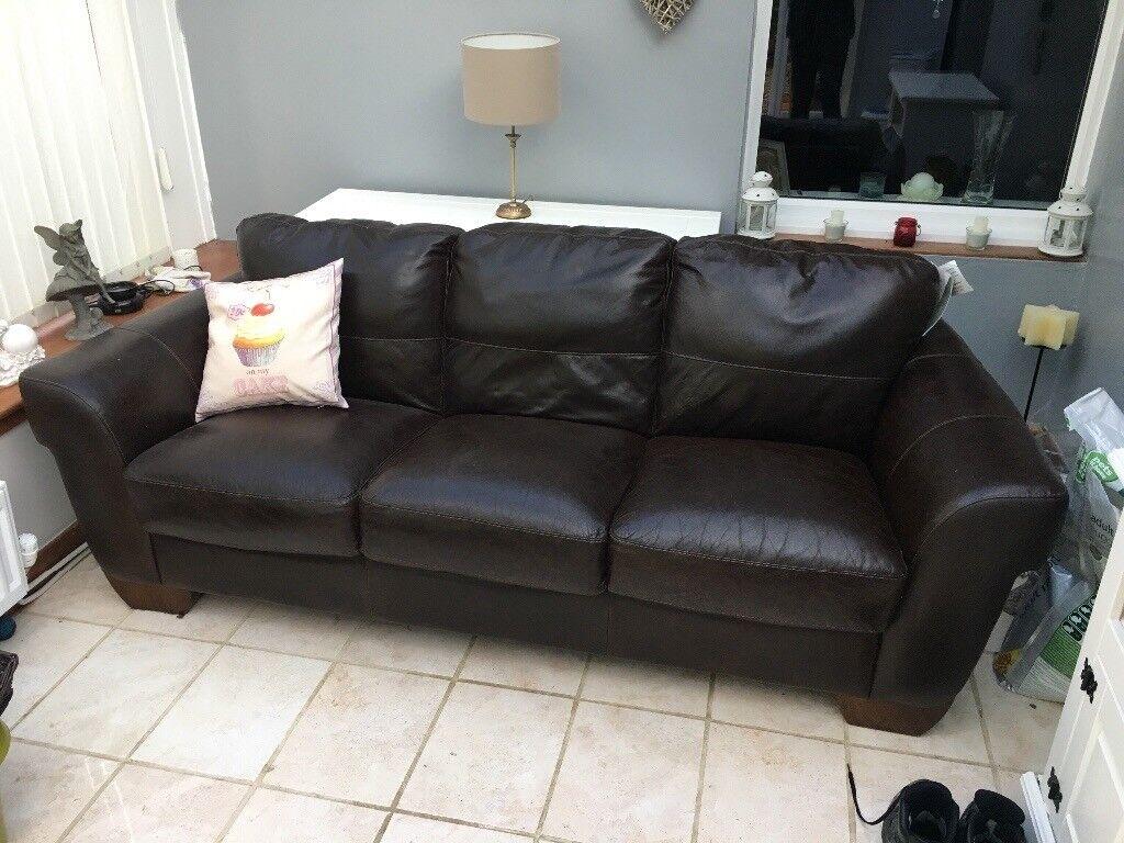 Brown Italian three seater sofa