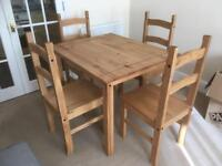 Solid Pine Dinning Table and Four Chairs