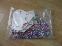 large bag of hama beads and six boards , sea horse , star , heart , square etc