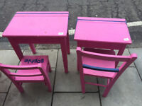 2 x Girls pink desk and Chairs £50 each...