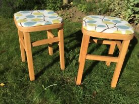 Pair of beech wood 60s vintage stools