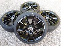 "19"" VAUXHALL VXR ALLOY WHEELS NEW TYRES *REFURBED* GLOSS BLACK 5x110 corsa astra zafira vxr"