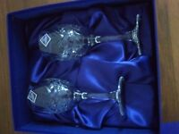 Edinburgh crystal,2 wine glasses in presentation box, brand new,never been used,price reduced!!!!