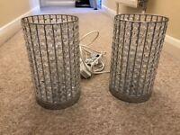 Matching pair of crystal effect bedside lights