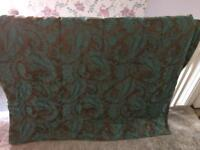 Double teal & brown bed throw