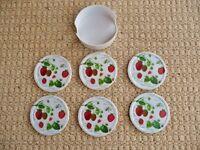 6 Plastic Coasters & Holder Strawberry Design Tableware
