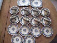 VINTAGE CROWN DUCAL FLORENTINE 24 PIECE PORCELAIN/CHINA TEA SET (1954)