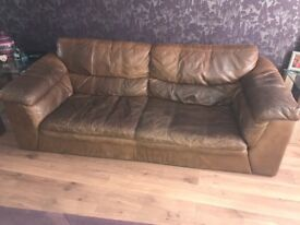 *Free - pick up only* 3 seater and 2 seater brown leather sofas.