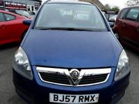 57 plate VAUXHALL ZAFIRA 1.6 LIFE 7 SEATER MPV IN BLUE