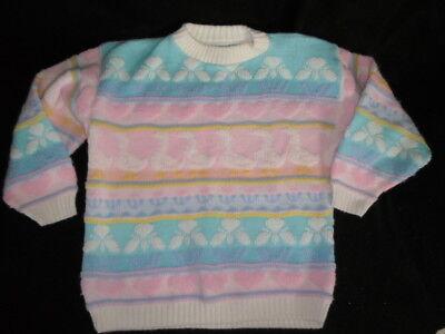 1980's VINTAGE Pastel Fairy Kei Kawaii Sweater Ducks Hearts 80's - Kawaii Fairy