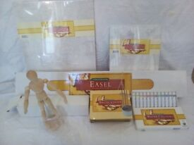 Easel, Canvases, Paints, brushes, Art course magazines and many Artist items