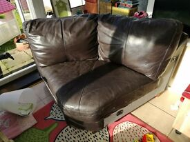 Chocolate brown leather corner piece of sofa