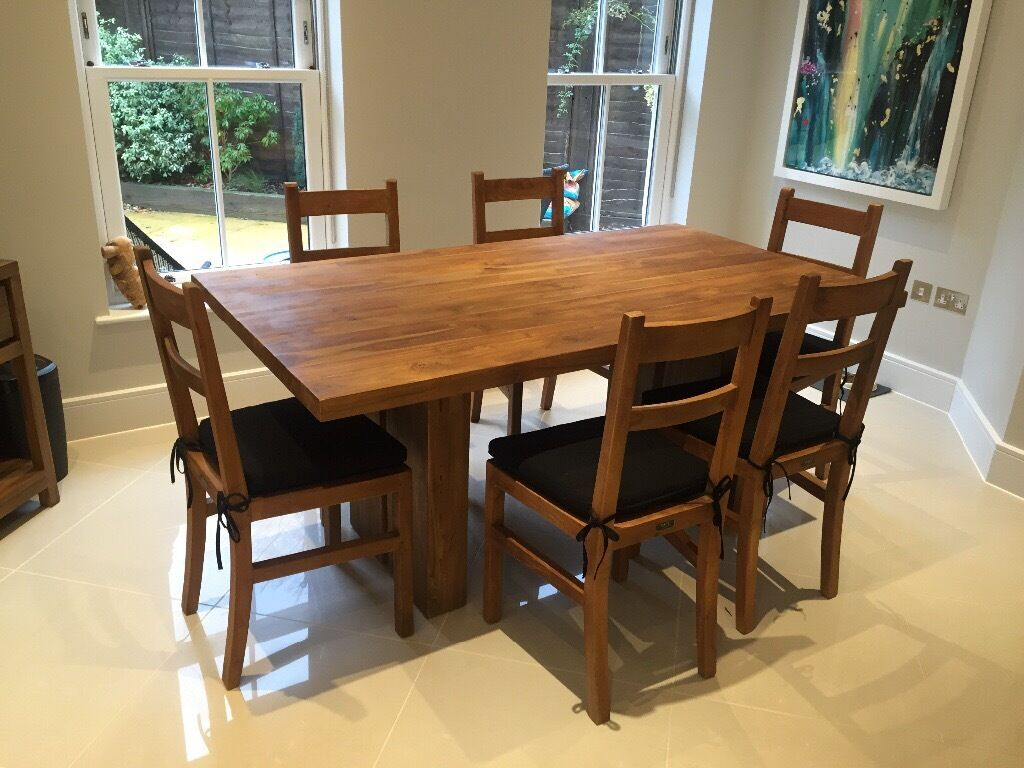 RAFT Almost New Reclaimed Teak Dining Room Table 6 Chairs