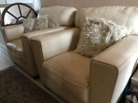Pair of Cream Leather Armchairs